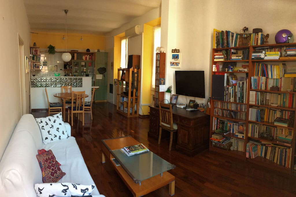 the living room and at the bottom the kitchen area