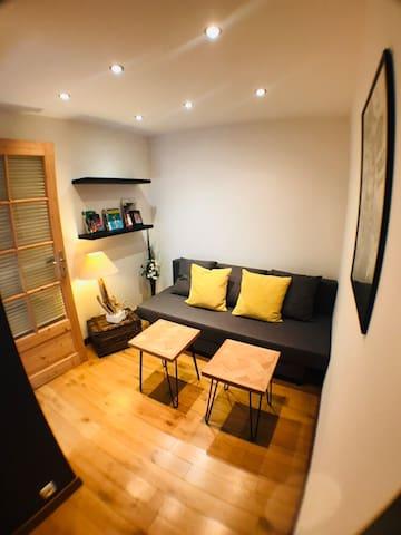 Le petit salon, avec son canapé-lit.
