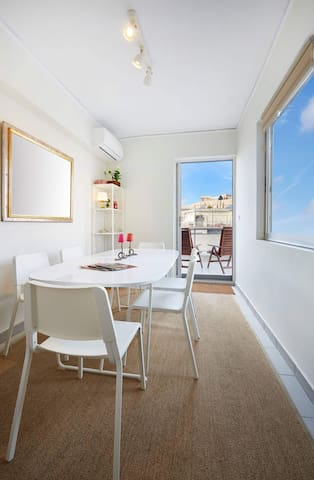 Penthouse study - dinning room with a view of the Acropolis