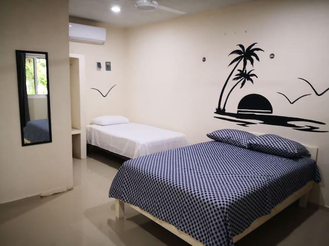 Habitación privada 4 en holbox a 50 mt de la playa