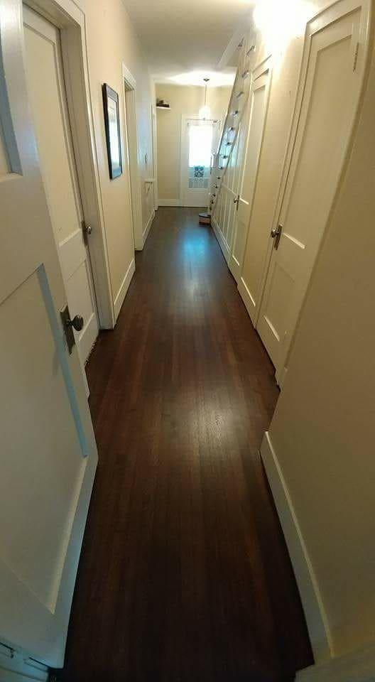 First floor hallway, view from kitchen.