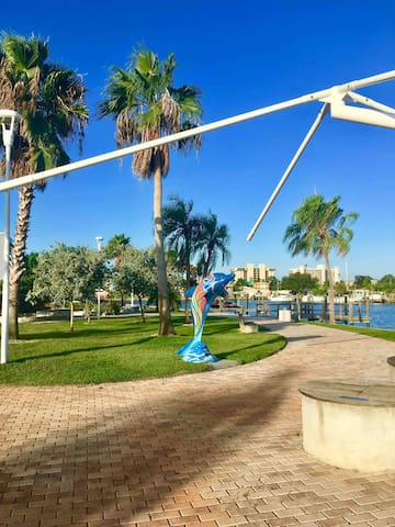 This is the walking path over at the Rec Center across the parking lot.  So peaceful and beautiful you'll find yourself going around and around this stunning park watching the dolphins jump and the pelicans fishing in the waters.