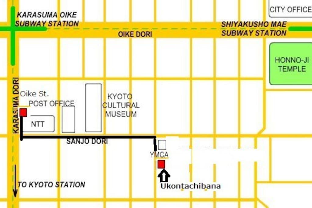 From subway Karasuma line Oike station to Ukontachibana apartment. 地下鉄御池駅より