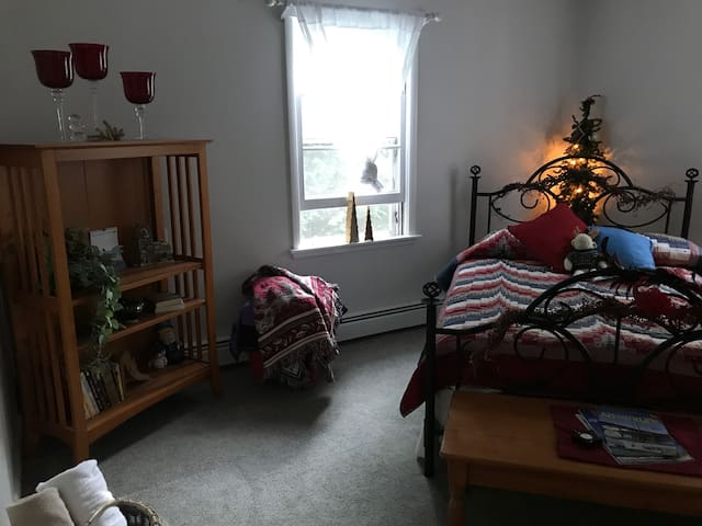 Cozy bedroom with double bed. Open closet storage area for guests.