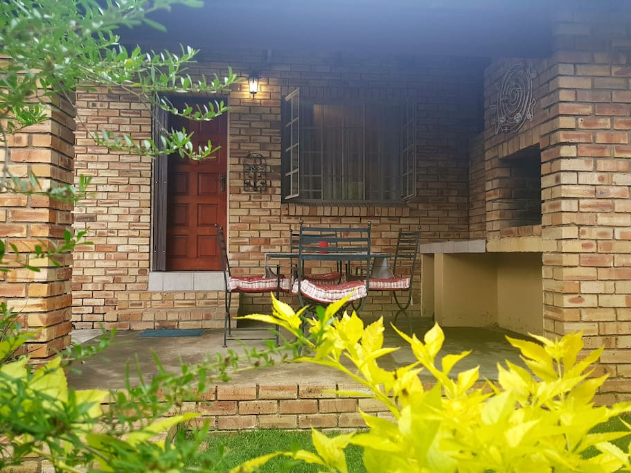 Entrance to Self Catering Unit. Patio with braai facility.