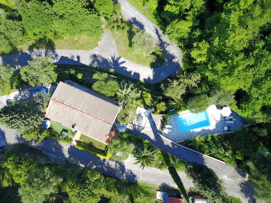 Aerial view of Villa Les Rossignols and pool