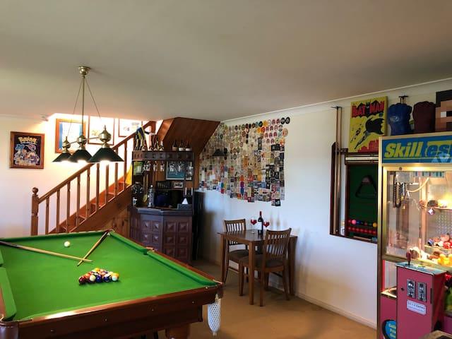 2 story Games Room, Bar & NEW bathroom
