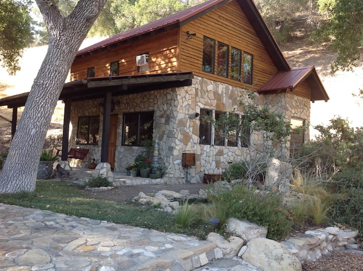 Rustic, Tranquil Stone Cabin Under the Oak Trees