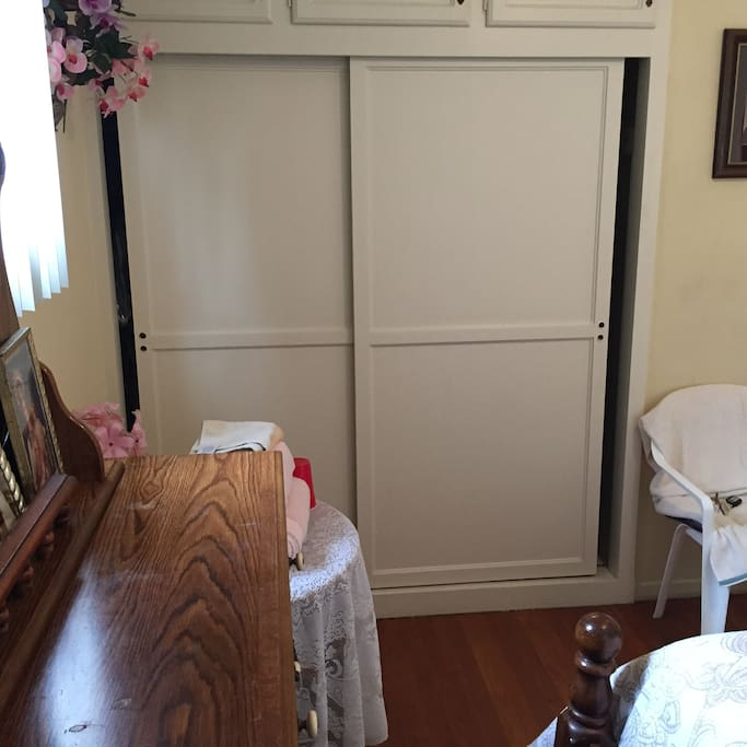 The closet will accommodate your clothes and luggage.