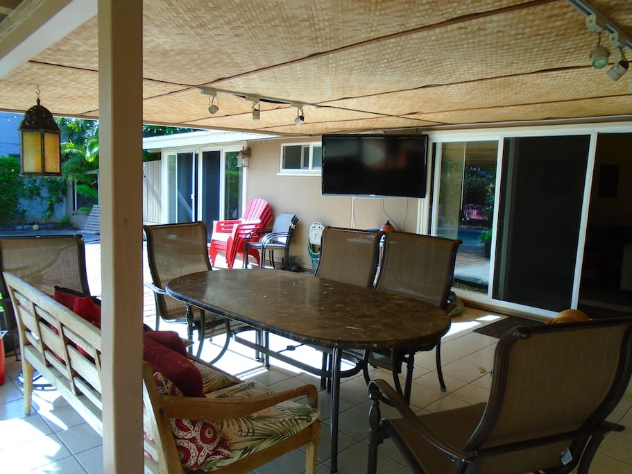 Large covered patio with t.v.