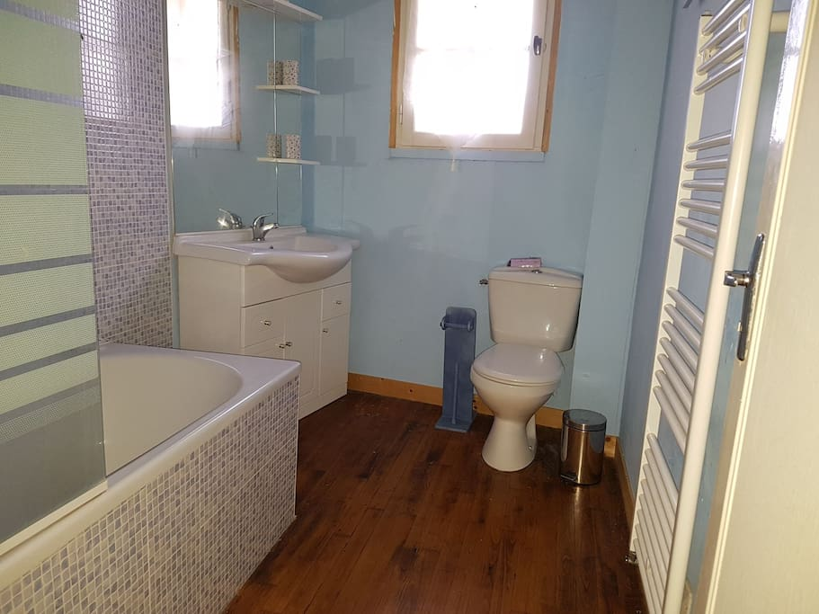 Family bathroom with shower over the bath.