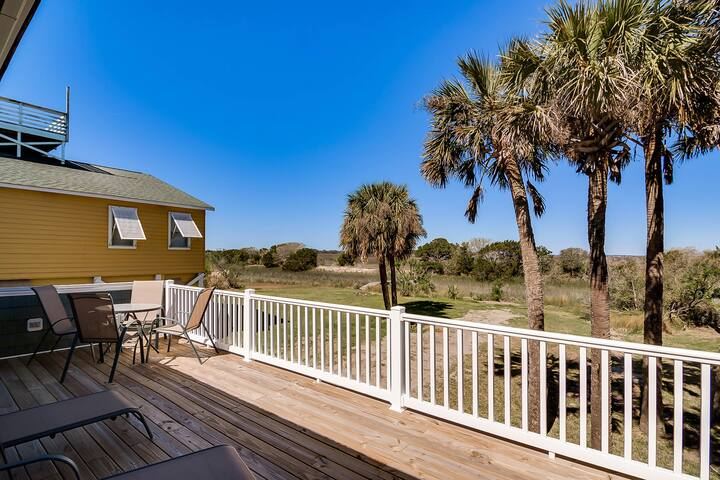Dog-friendly raised home w/marsh & ocean views - across the street from beach!