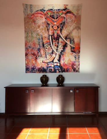 Festive Elephant with chinese cloisonne vases in the living room