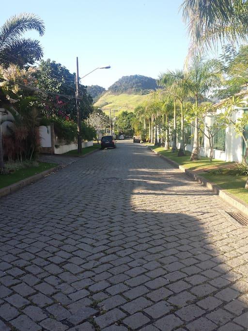 Rua tranquila, arborizada e com vagas para carro.