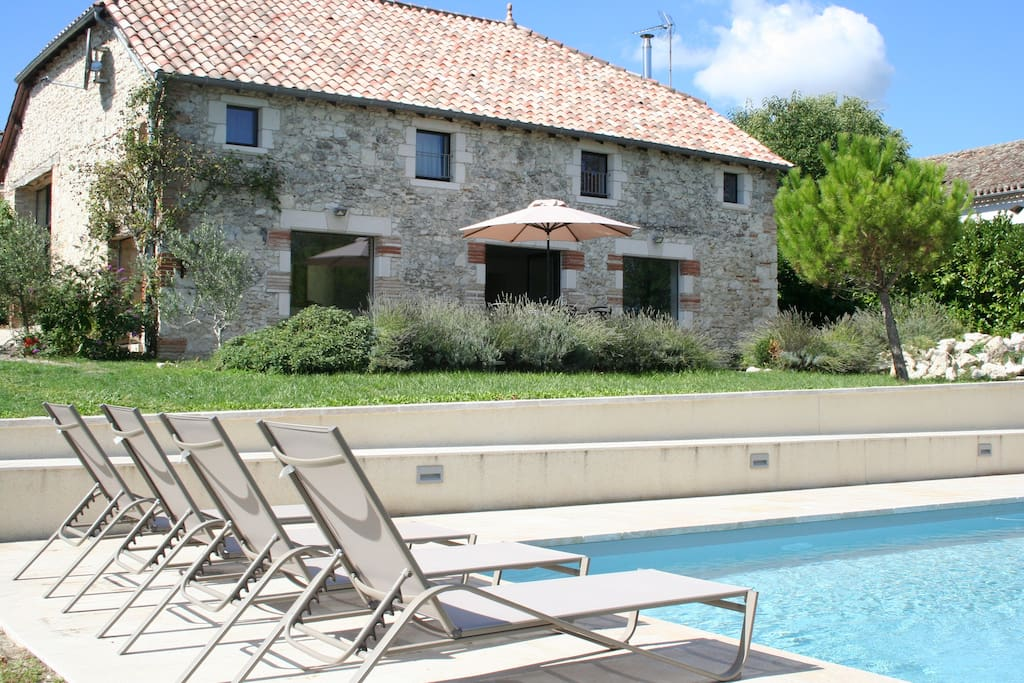 Contemporary converted French barn with outstanding pool 12m x 4m heated, salt water
