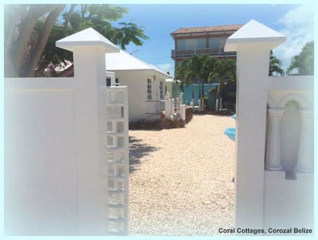 Exclusive Gated Entrance to both Cottages, in the heart of Corozal Town, as of 2017