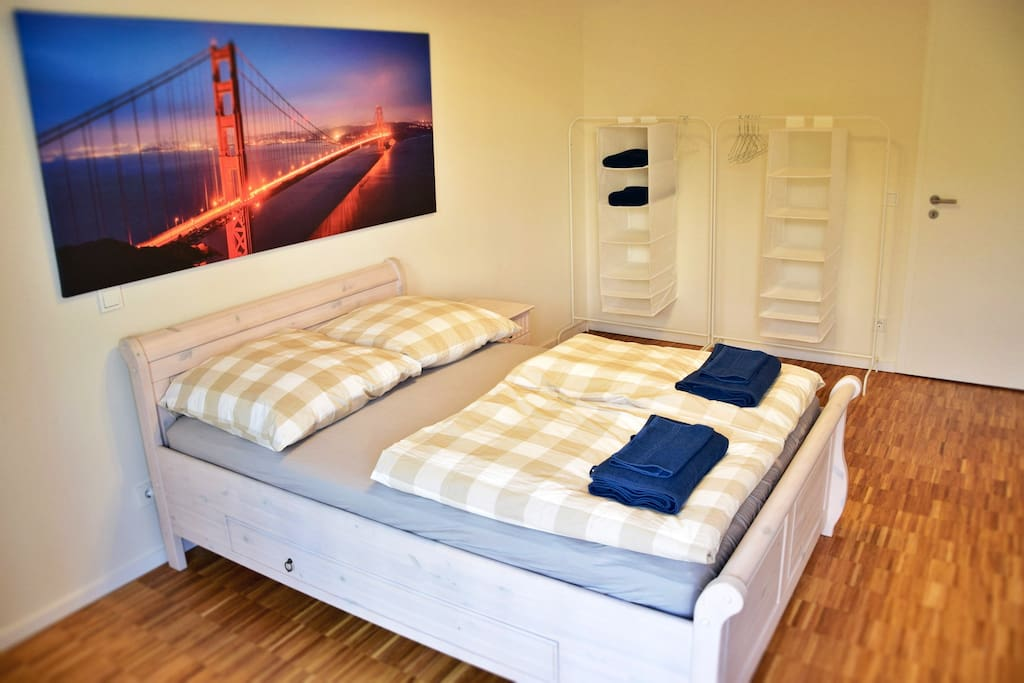 Bedroom with double bed + fresh sheets & towels