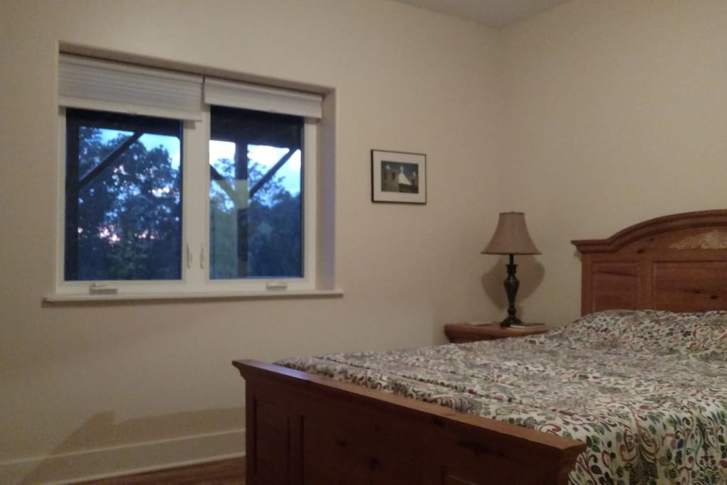 Large queen  bed room with windows