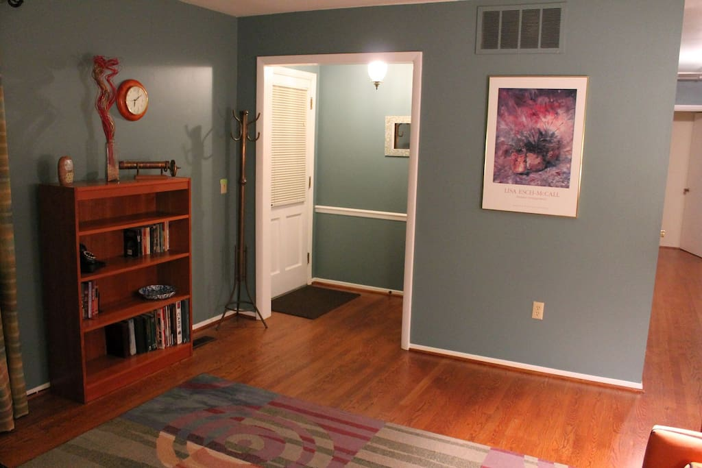 Front entryway. Beautiful hardwood floors throughout the house.