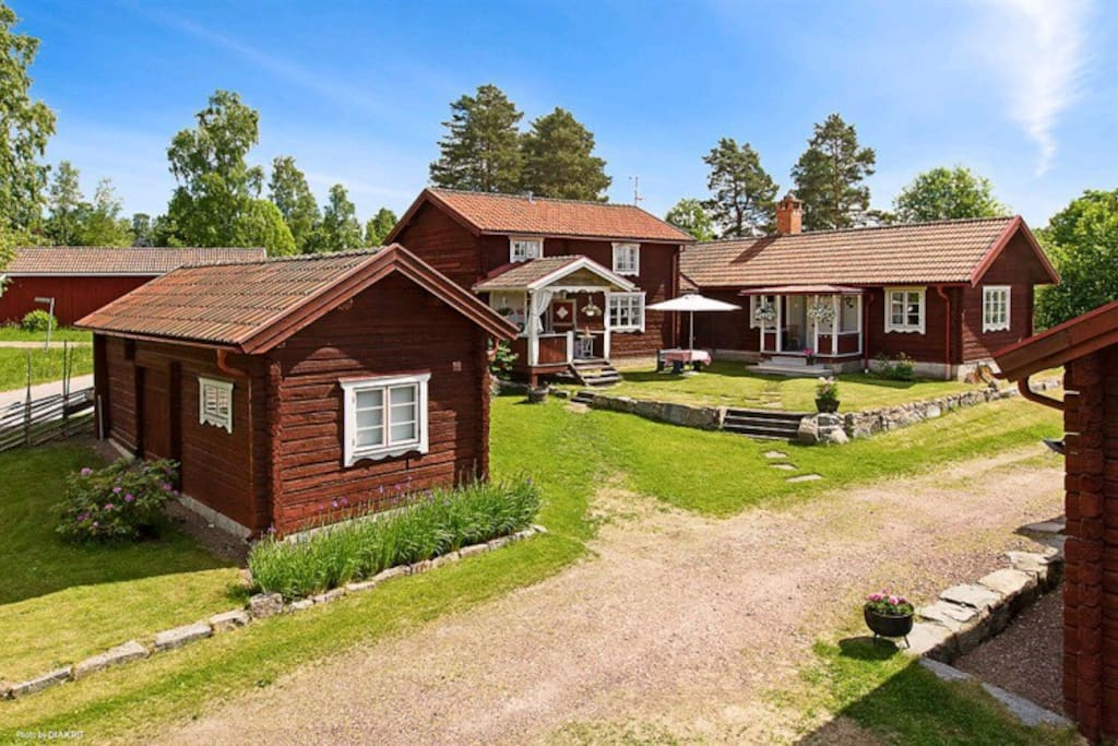 Birdview  of Ekgården - Main House in the middle and to the right, Small Cabin to the left