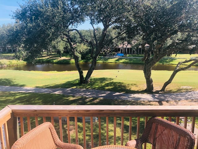 Adorable one bedroom one bath condo on the golf course with view of pond