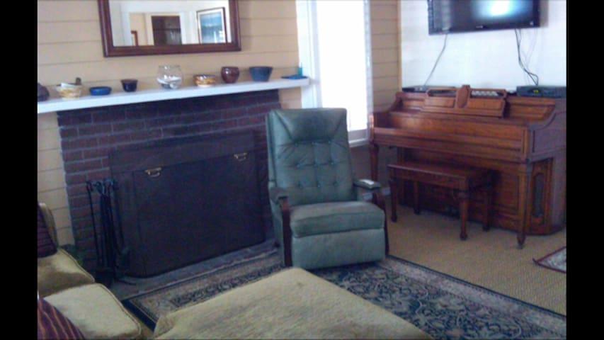 Cozy, friendly living room.  Queen sofa sleeper