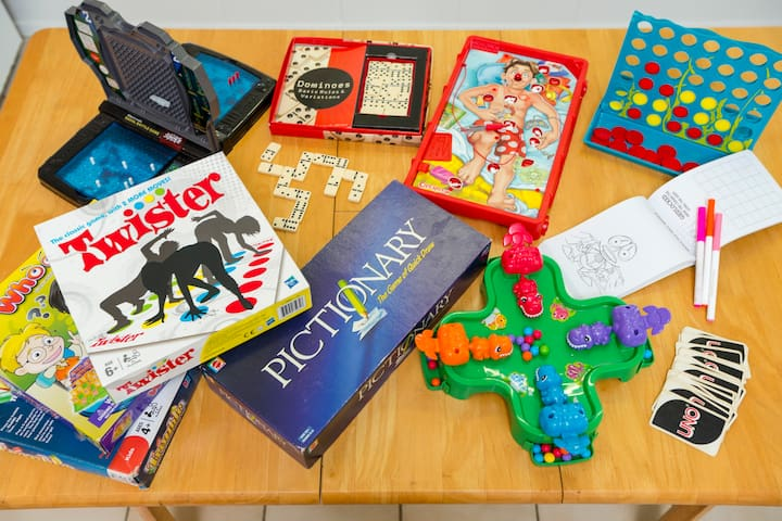 Just a selection of the games, toys and colouring books we have at the house to keep the little ones entertained!