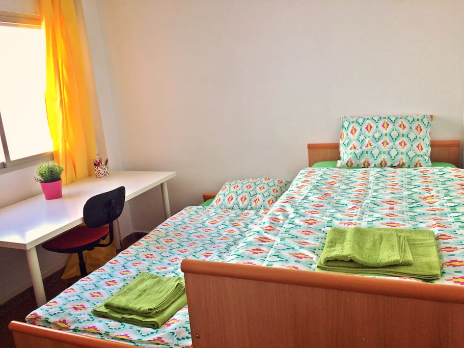 Room for two people - beds can be separated completely and desk can be moved away for more space
