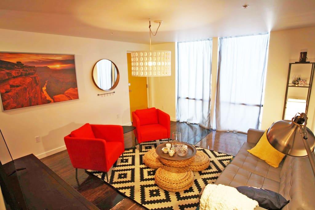 floor to ceiling windows in living room