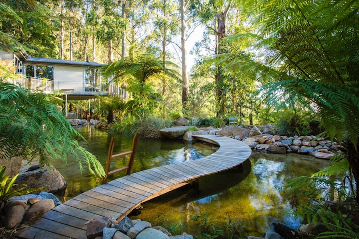 Boardwalk over natural pool leads you to a sitting area or walk down to the lower billabong.  Enjoy the sound of cascading waterfalls and breathe in the beautiful mountain air
