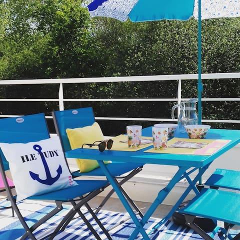 L'île Tudy Plage, Appartement***, terrasse,wifi