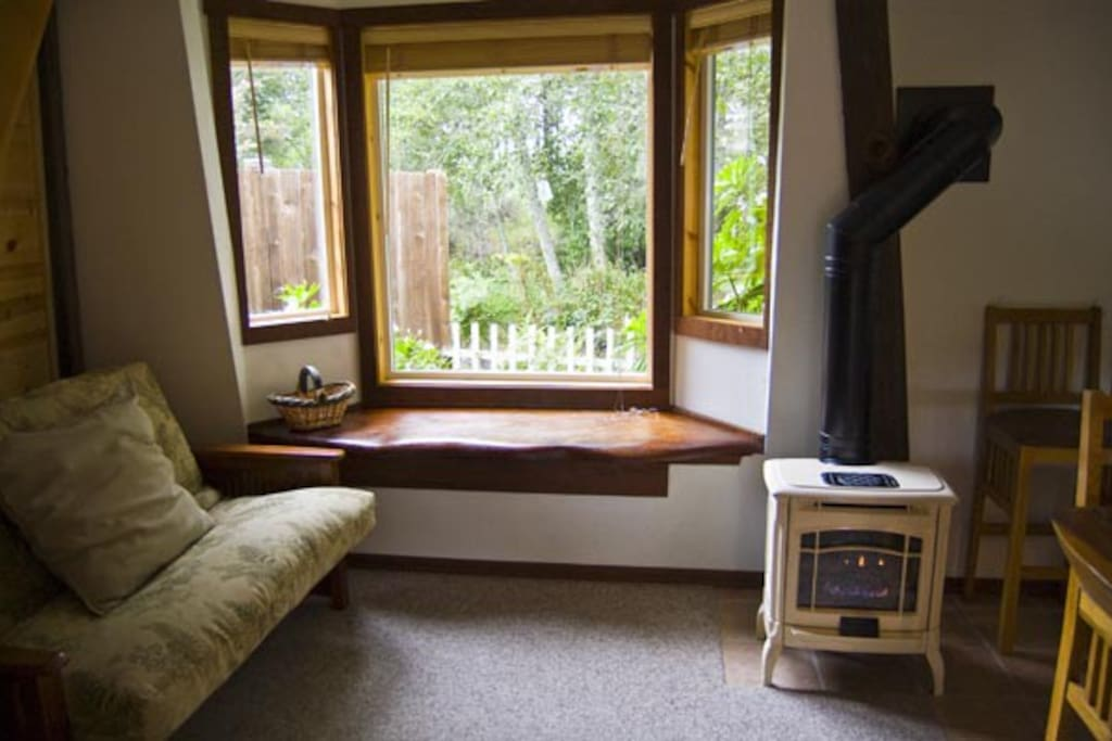 Redwood window seat with views of the private garden.
