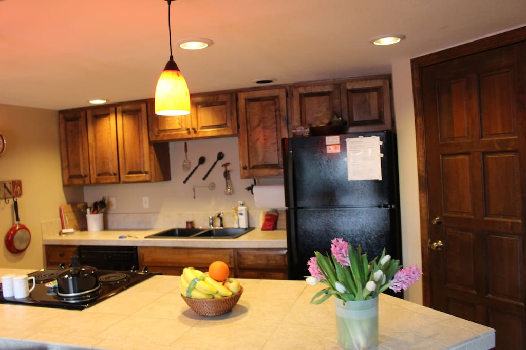 Spacious, well equipped kitchen open to dining and family room.