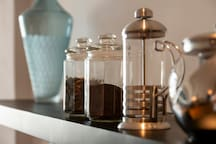 Free coffee for our guests. Great Vietnamese coffee prepared with a French press