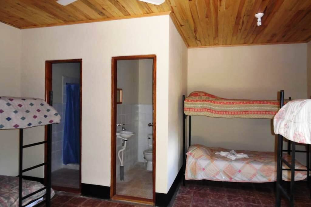 Separate private bathroom and hot shower in the group room