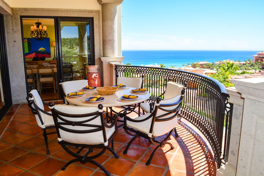 Comfortable outdoor furniture for dining and relaxing. Here you can celebrate sundown every night with spectacular sunsets.