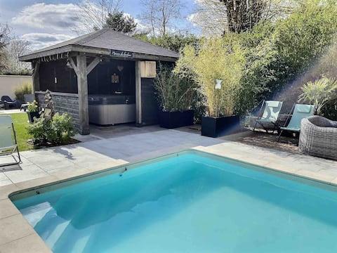 House, heated pool 29°, SPA, 1 hour paris