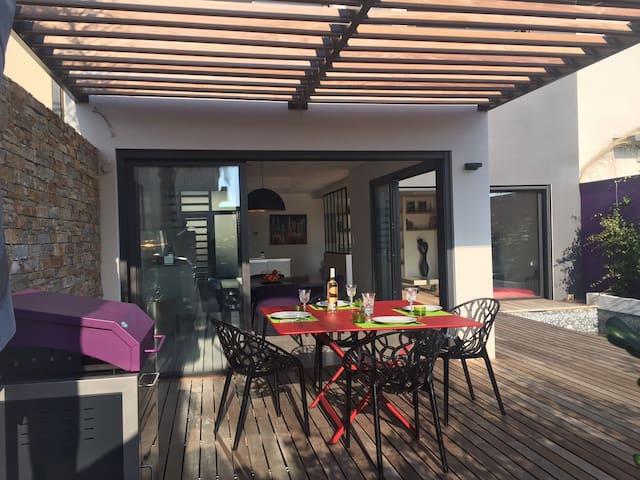 Maison 6 pers. climatisée plein sud avec piscine - Cabestany - Rumah