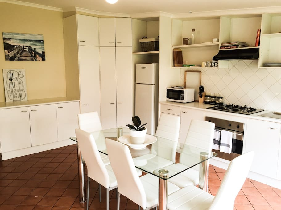 Large kitchen area. Seats 6 people comfortably. Fully self contained.