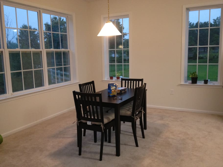 Dining room area in the evening