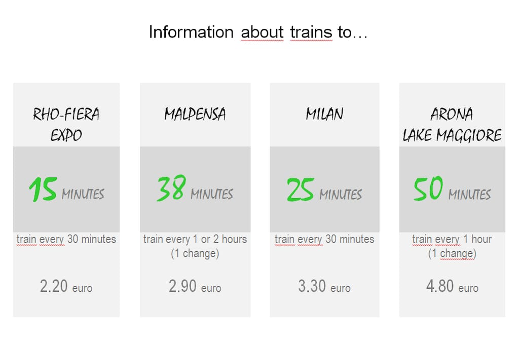 Information about trains to...