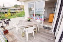 Own deck overlooking the beach