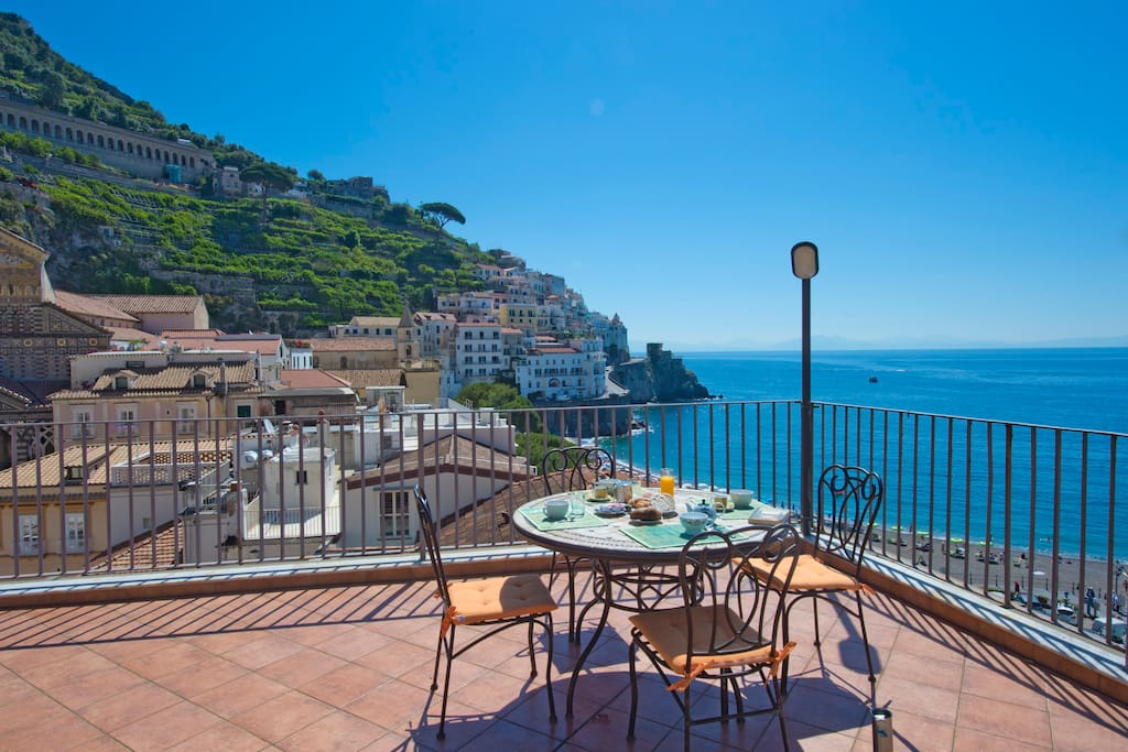 your magnificent view from your rental roof terrace! Can it be beaten?