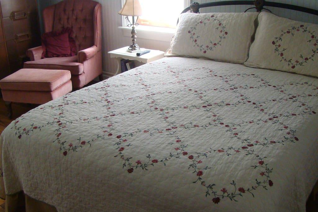 Queen bed, private bath, fridge, TV, Wi Fi