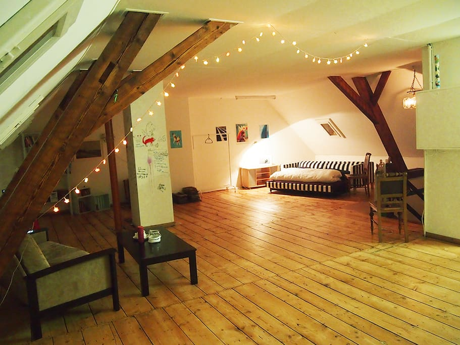 Attic room – our living room (just for our flat and separate from the flat)