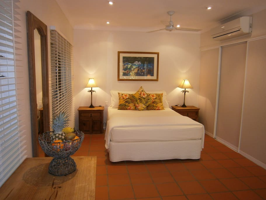 Comfy bed and spacious guest accommodation.......