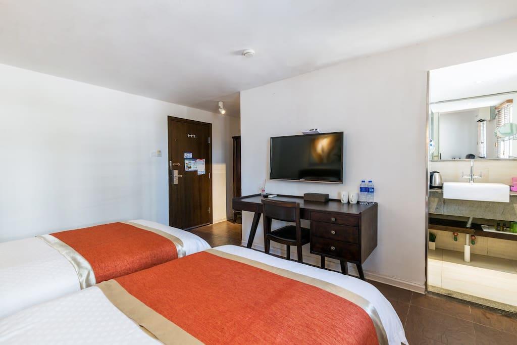 客房实景拍摄(每间客房内有2张1.2米的单人床,独立卫浴)