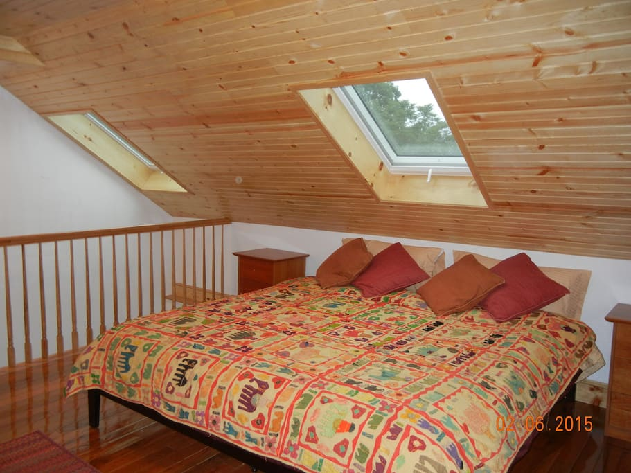 Top floor Bedroom #3 with skylight windows (King Size)