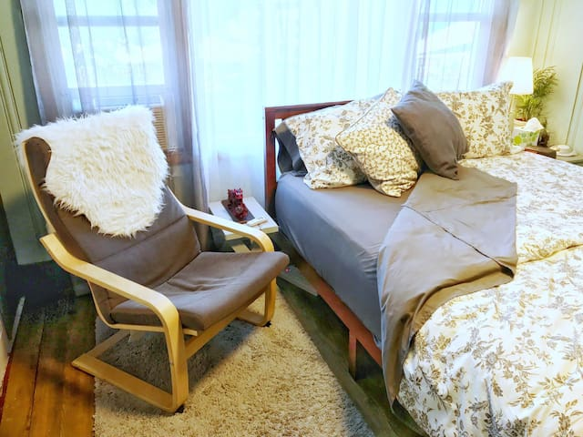 Clean linens and a comfortable bed await you!