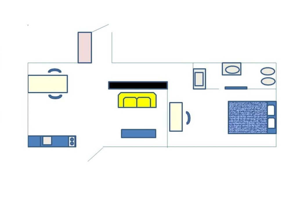 flat map: living room on the left and bedroom with bathroom on the right side
